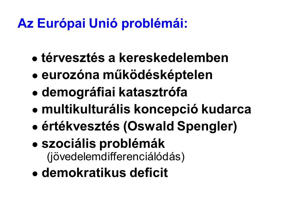 Az Európai Unió problémái: ● térvesztés a kereskedelemben ● eurozóna működésképtelen ● demográfiai katasztrófa ● multikulturális koncepció kudarca ● értékvesztés (Oswald Spengler) ● szociális problémák (jövedelemdifferenciálódás) ● demokratikus deficit