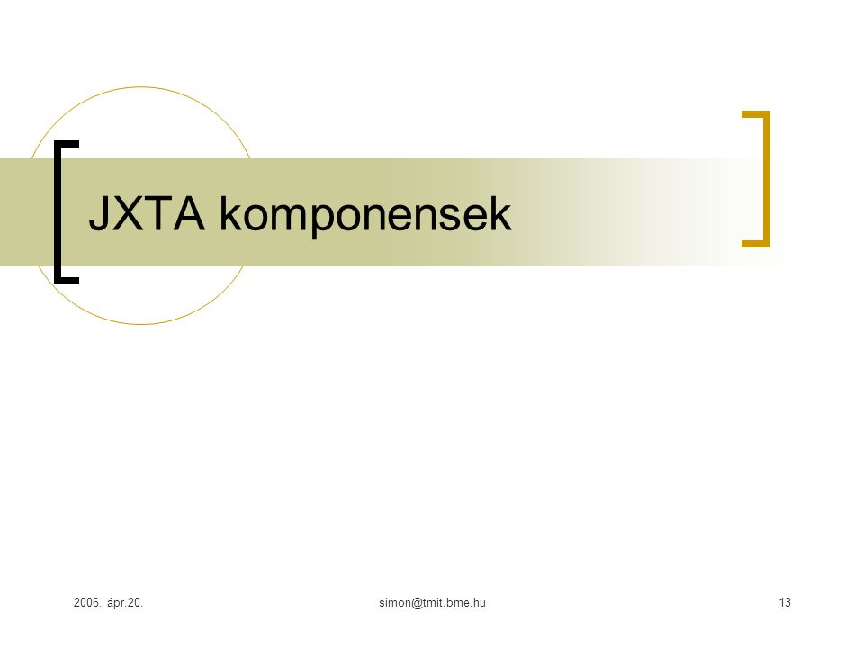 2006. ápr.20.simon@tmit.bme.hu13 JXTA komponensek