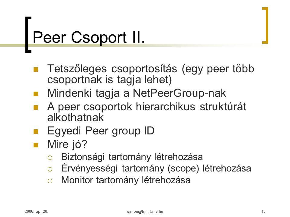 2006. ápr.20.simon@tmit.bme.hu18 Peer Csoport II. Tetszőleges csoportosítás (egy peer több csoportnak is tagja lehet) Mindenki tagja a NetPeerGroup-na
