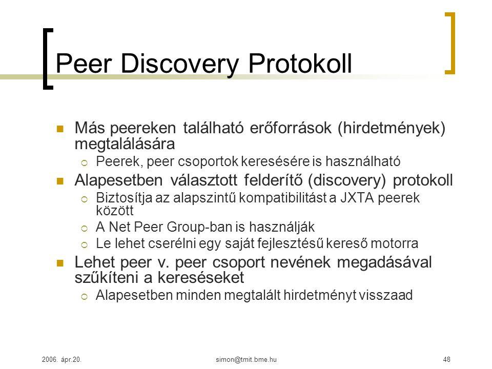 2006. ápr.20.simon@tmit.bme.hu48 Peer Discovery Protokoll Más peereken található erőforrások (hirdetmények) megtalálására  Peerek, peer csoportok ker