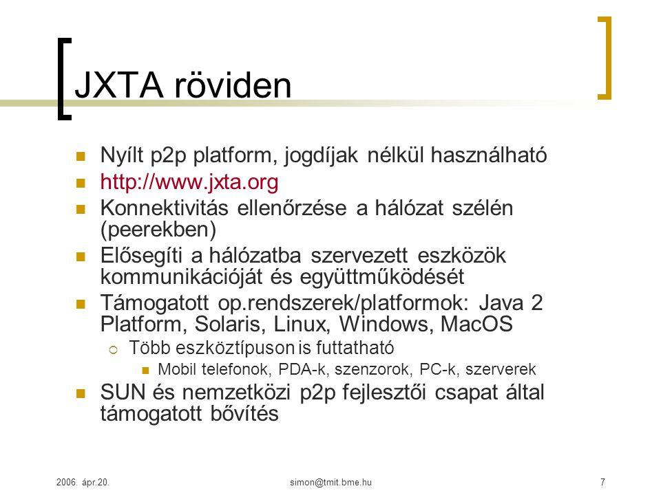 2006. ápr.20.simon@tmit.bme.hu7 JXTA röviden Nyílt p2p platform, jogdíjak nélkül használható http://www.jxta.org Konnektivitás ellenőrzése a hálózat s