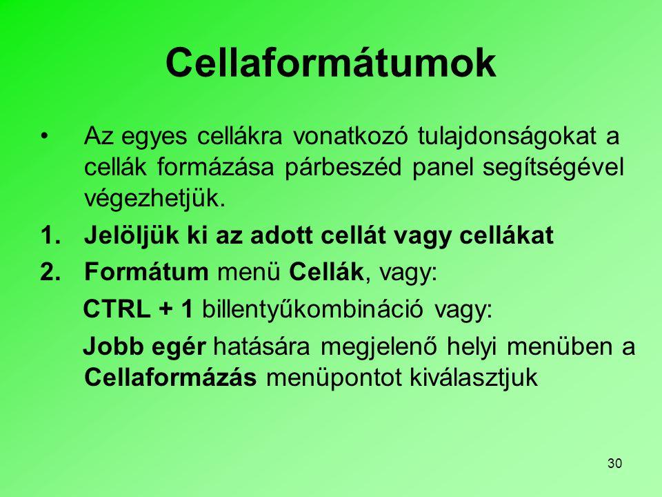 30 Cellaformátumok Az egyes cellákra vonatkozó tulajdonságokat a cellák formázása párbeszéd panel segítségével végezhetjük.