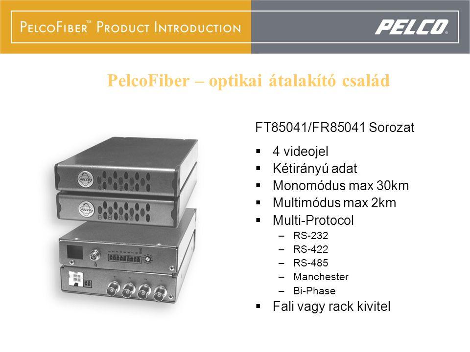 FT85041/FR85041 Series  4 videojel  Kétirányú adat  Monomódus max 30km  Multimódus max 2km  Multi-Protocol –RS-232 –RS-422 –RS-485 –Manchester –B