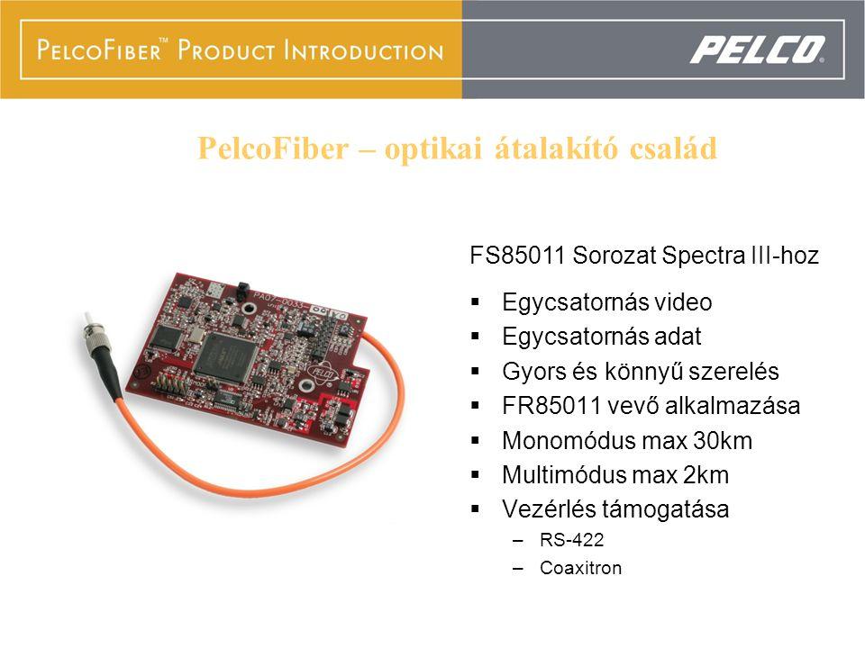 FS85011 Series  Egycsatornás video  Egycsatornás adat  Gyors és könnyű szerelés  FR85011 vevő alkalmazása  Monomódus max 30km  Multimódus max 2km  Vezérlés támogatása –RS-422 –Coaxitron FS85011 Sorozat Spectra III-hoz PelcoFiber – optikai átalakító család