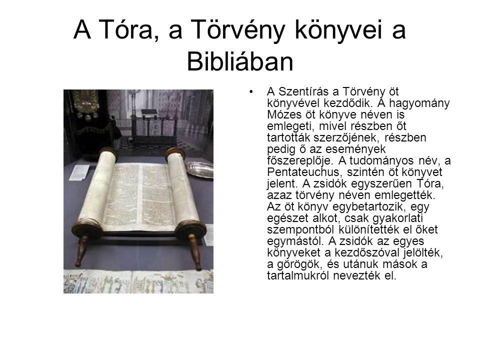 A Tóra, a Törvény könyvei a Bibliában A Szentírás a Törvény öt könyvével kezdődik.