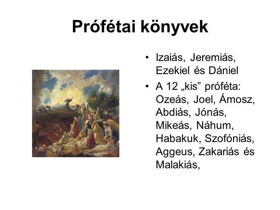 """Prófétai könyvek Izaiás, Jeremiás, Ezekiel és Dániel A 12 """"kis próféta: Ozeás, Joel, Ámosz, Abdiás, Jónás, Mikeás, Náhum, Habakuk, Szofóniás, Aggeus, Zakariás és Malakiás,"""