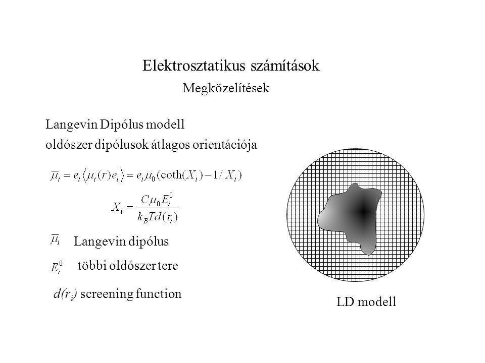 Elektrosztatikus számítások Megközelítések Langevin Dipólus modell oldószer dipólusok átlagos orientációja Langevin dipólus többi oldószer tere d(r i