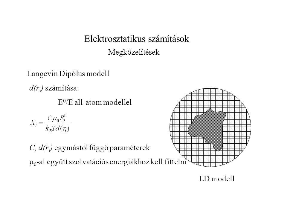 Elektrosztatikus számítások Megközelítések Langevin Dipólus modell E 0 /E all-atom modellel C, d(r i ) egymástól függő paraméterek d(r i ) számítása: