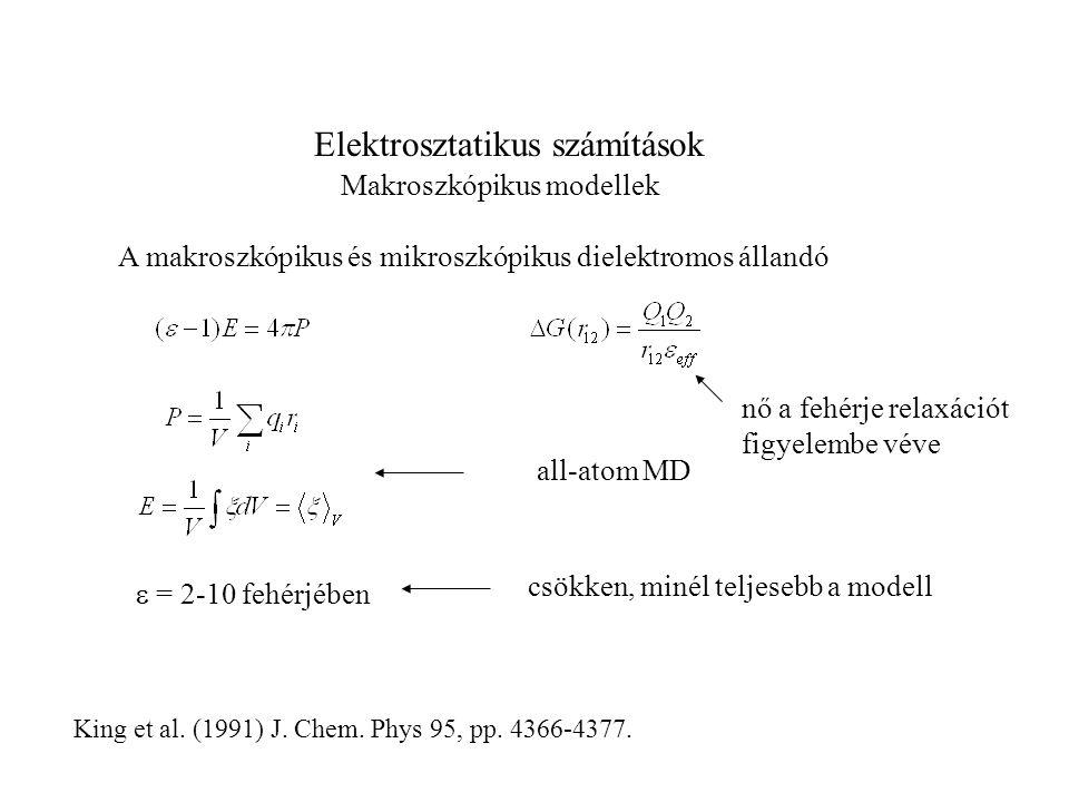 Elektrosztatikus számítások Makroszkópikus modellek A makroszkópikus és mikroszkópikus dielektromos állandó  = 2-10 fehérjében all-atom MD King et a