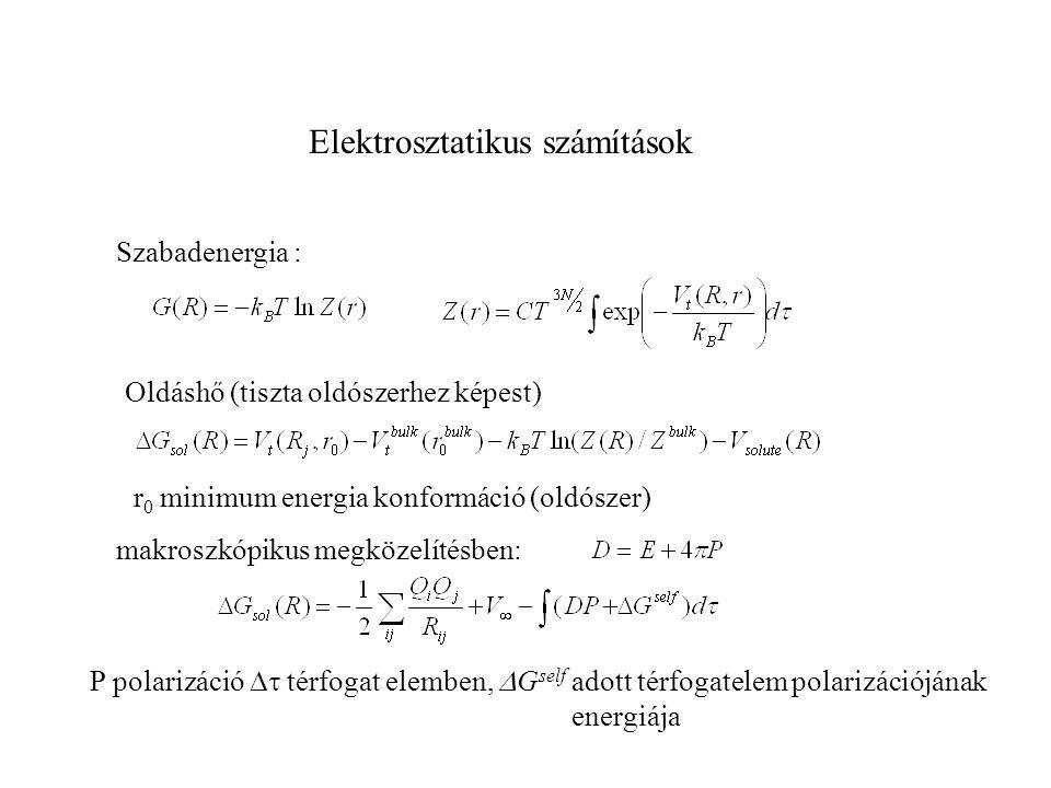 Elektrosztatikus számítások Szabadenergia : Oldáshő (tiszta oldószerhez képest) r 0 minimum energia konformáció (oldószer) makroszkópikus megközelítés