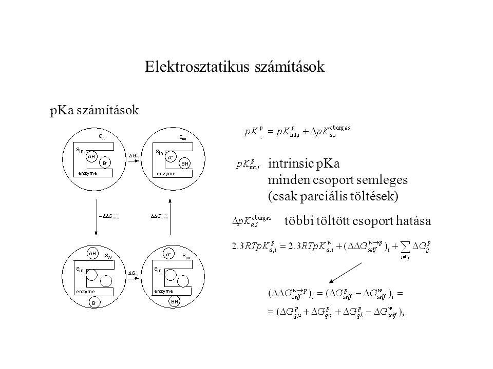 Elektrosztatikus számítások pKa számítások intrinsic pKa minden csoport semleges (csak parciális töltések) többi töltött csoport hatása