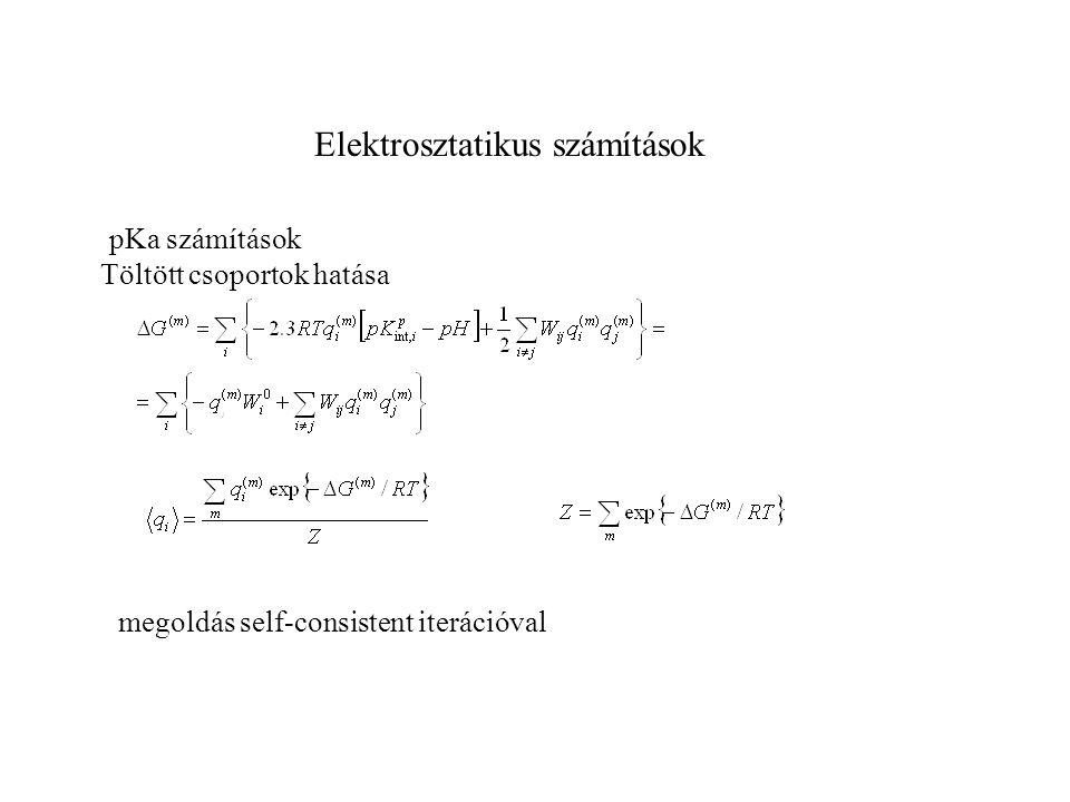 Elektrosztatikus számítások pKa számítások Töltött csoportok hatása megoldás self-consistent iterációval