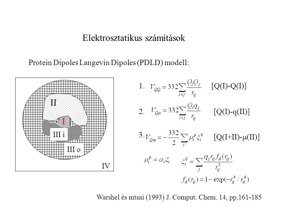 Elektrosztatikus számítások Protein Dipoles Langevin Dipoles (PDLD) modell: II I III o IV III i 1. 2. 3. [Q(I)-Q(I)] [Q(I)-q(II)] [Q(I+II)-  (II)] Wa