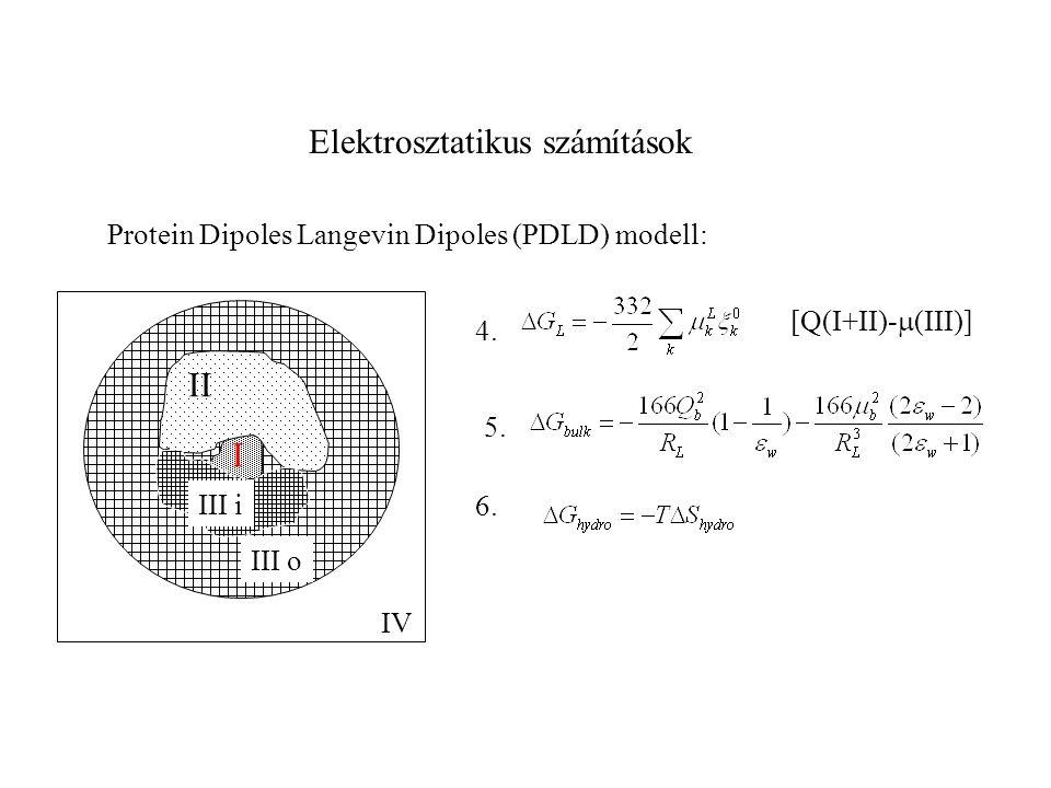 Elektrosztatikus számítások Protein Dipoles Langevin Dipoles (PDLD) modell: II I III o IV III i 4. 5. 6. [Q(I+II)-  (III)]