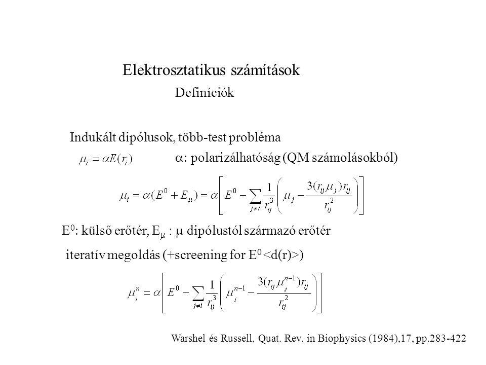 Elektrosztatikus számítások Definíciók Indukált dipólusok, több-test probléma iteratív megoldás (+screening for E 0 )  polarizálhatóság (QM számolá