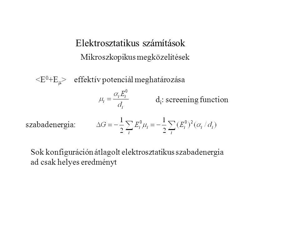 Elektrosztatikus számítások Mikroszkopikus megközelítések További egyszerűsítések: átlagos polarizáció U i  nem elektrosztatikus tagok (vdw), : effektív potenciál i dipóluson (U es E i minden állására kiátlagolva) Langevin formula