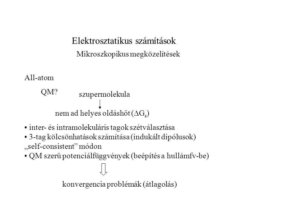 Elektrosztatikus számítások Megközelítések All-atom Kölcsönhatások leírása erőtérrel Probléma: hosszútávú kölcsönhatások Lehetséges megoldások: periódikus határfeltételek Ewald összegzés - divergens szolvatációs energiák - függ a rendszer méretétől gömbszimmetrikus határfeltételek local reaction field (LRF) felszíni molekulákra ható erő számítása