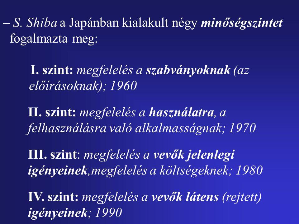 – S.Shiba a Japánban kialakult négy minőségszintet fogalmazta meg: I.