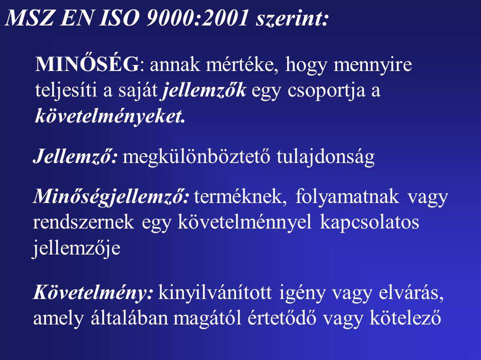 MSZ EN ISO 9000:2001 szerint: MINŐSÉG: annak mértéke, hogy mennyire teljesíti a saját jellemzők egy csoportja a követelményeket.