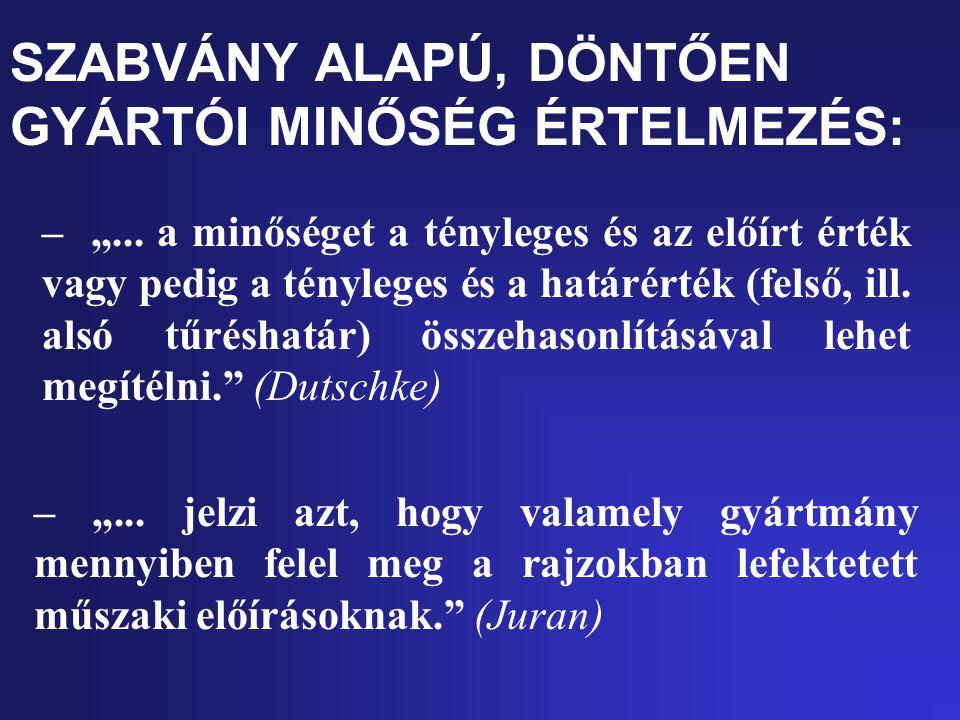 """SZABVÁNY ALAPÚ, DÖNTŐEN GYÁRTÓI MINŐSÉG ÉRTELMEZÉS: – """"..."""