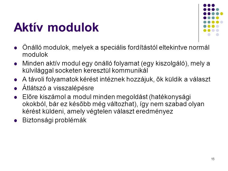 15 Aktív modulok Önálló modulok, melyek a speciális fordítástól eltekintve normál modulok Minden aktív modul egy önálló folyamat (egy kiszolgáló), mel