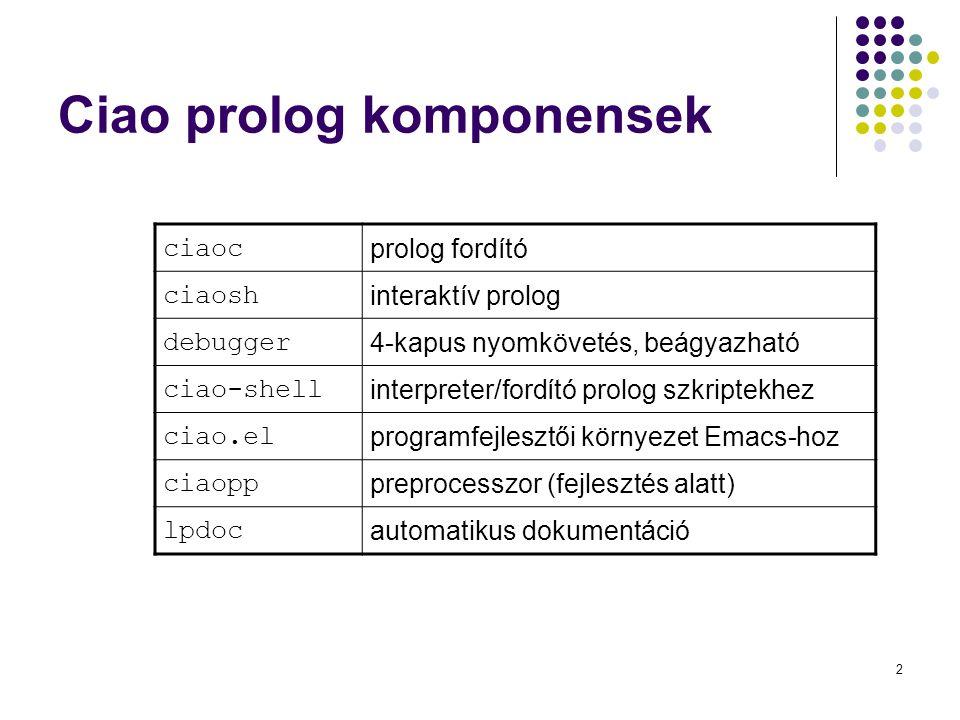 2 Ciao prolog komponensek ciaoc prolog fordító ciaosh interaktív prolog debugger 4-kapus nyomkövetés, beágyazható ciao-shell interpreter/fordító prolo