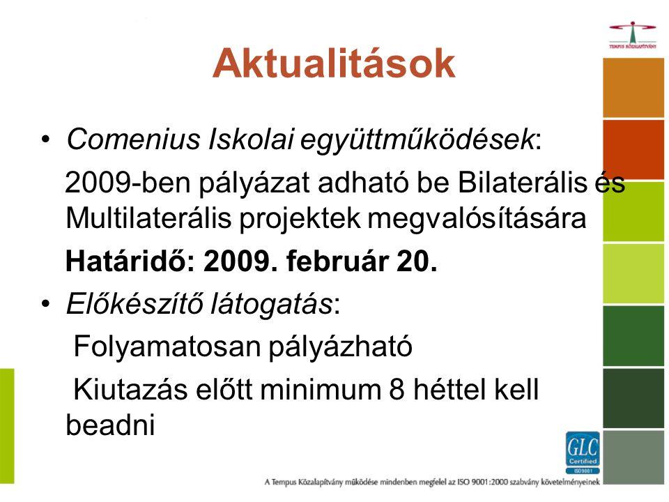 Aktualitások Comenius Iskolai együttműködések: 2009-ben pályázat adható be Bilaterális és Multilaterális projektek megvalósítására Határidő: 2009.