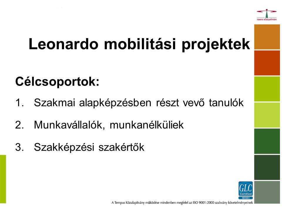 Leonardo mobilitási projektek Célcsoportok: 1.Szakmai alapképzésben részt vevő tanulók 2.Munkavállalók, munkanélküliek 3.Szakképzési szakértők