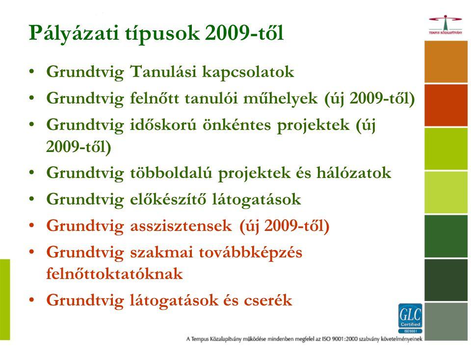Pályázati típusok 2009-től Grundtvig Tanulási kapcsolatok Grundtvig felnőtt tanulói műhelyek (új 2009-től) Grundtvig időskorú önkéntes projektek (új 2009-től) Grundtvig többoldalú projektek és hálózatok Grundtvig előkészítő látogatások Grundtvig asszisztensek (új 2009-től) Grundtvig szakmai továbbképzés felnőttoktatóknak Grundtvig látogatások és cserék