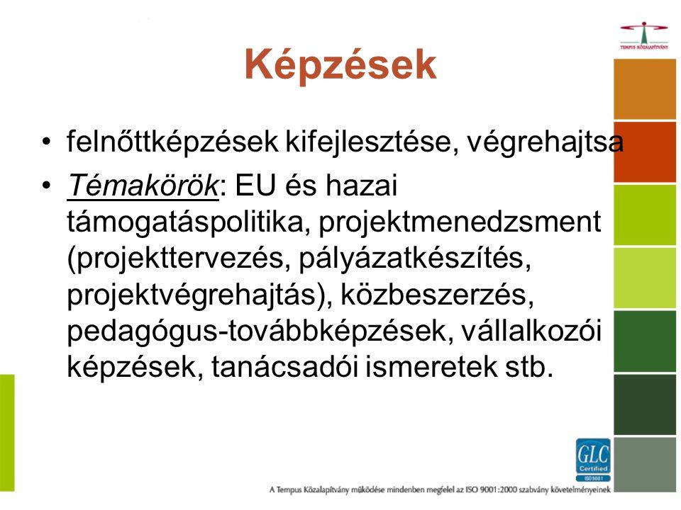 Képzések felnőttképzések kifejlesztése, végrehajtsa Témakörök: EU és hazai támogatáspolitika, projektmenedzsment (projekttervezés, pályázatkészítés, projektvégrehajtás), közbeszerzés, pedagógus-továbbképzések, vállalkozói képzések, tanácsadói ismeretek stb.