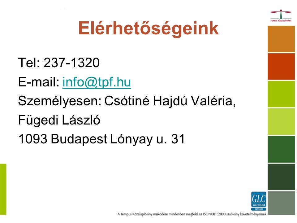 Elérhetőségeink Tel: 237-1320 E-mail: info@tpf.huinfo@tpf.hu Személyesen: Csótiné Hajdú Valéria, Fügedi László 1093 Budapest Lónyay u.