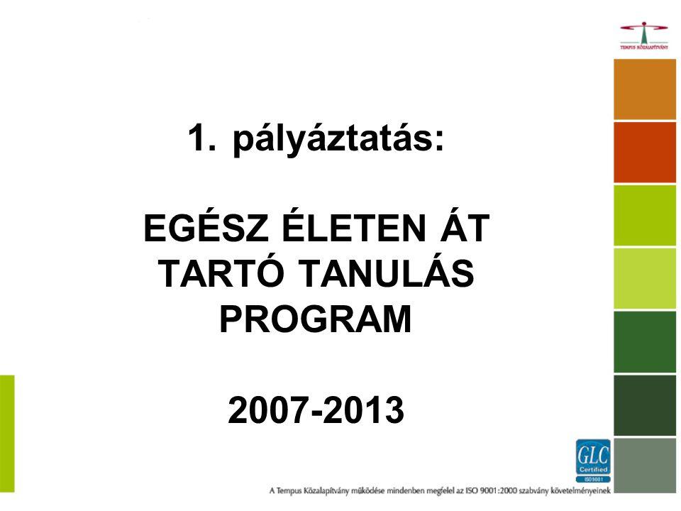 1.pályáztatás: EGÉSZ ÉLETEN ÁT TARTÓ TANULÁS PROGRAM 2007-2013