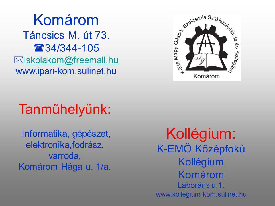 Tanműhelyünk: Informatika, gépészet, elektronika,fodrász, varroda, Komárom Hága u.