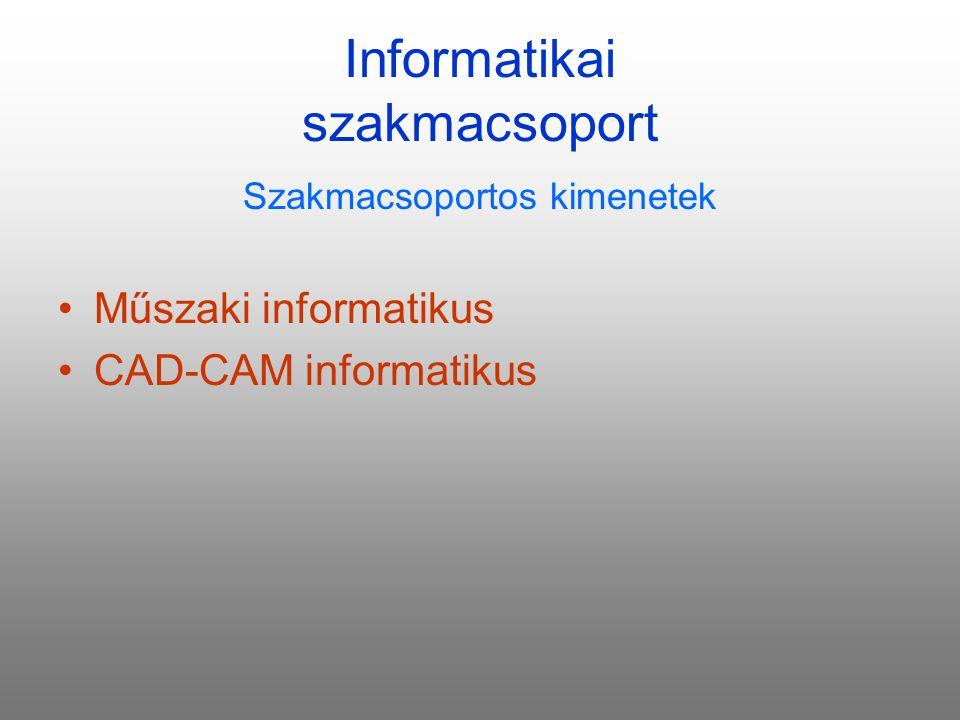 Informatikai szakmacsoport Szakmacsoportos kimenetek Műszaki informatikus CAD-CAM informatikus