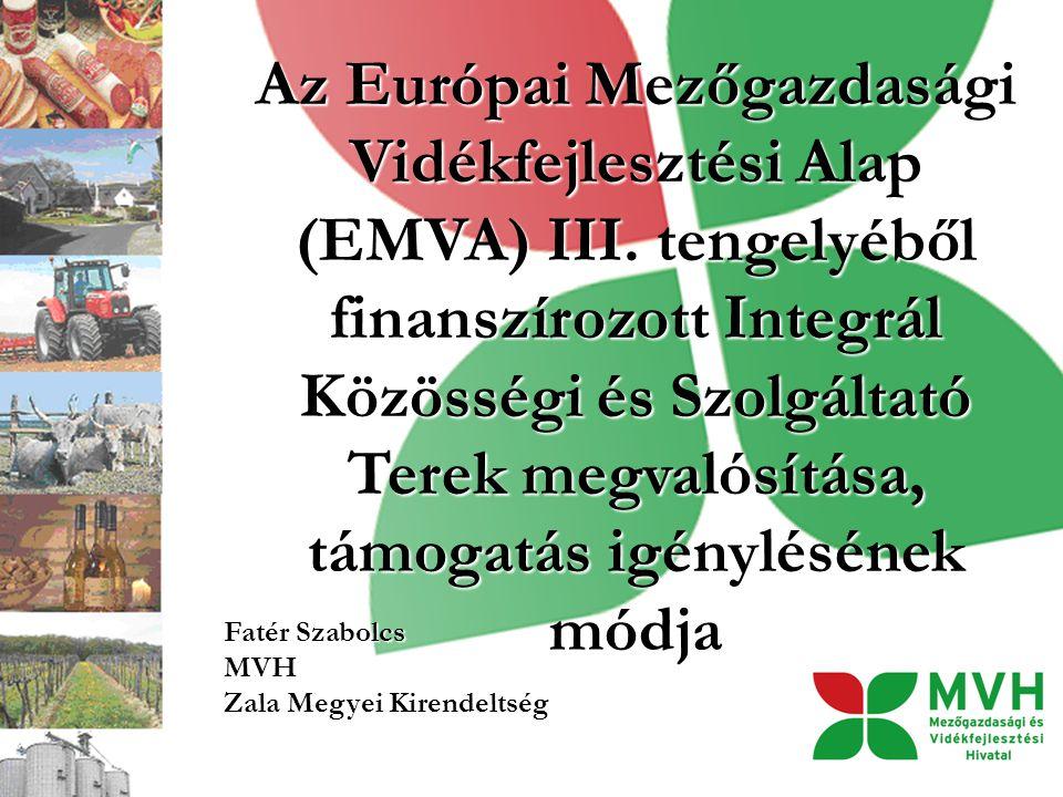 Az Európai Mezőgazdasági Vidékfejlesztési Alap (EMVA) III. tengelyéből finanszírozott Integrál Közösségi és Szolgáltató Terek megvalósítása, támogatás