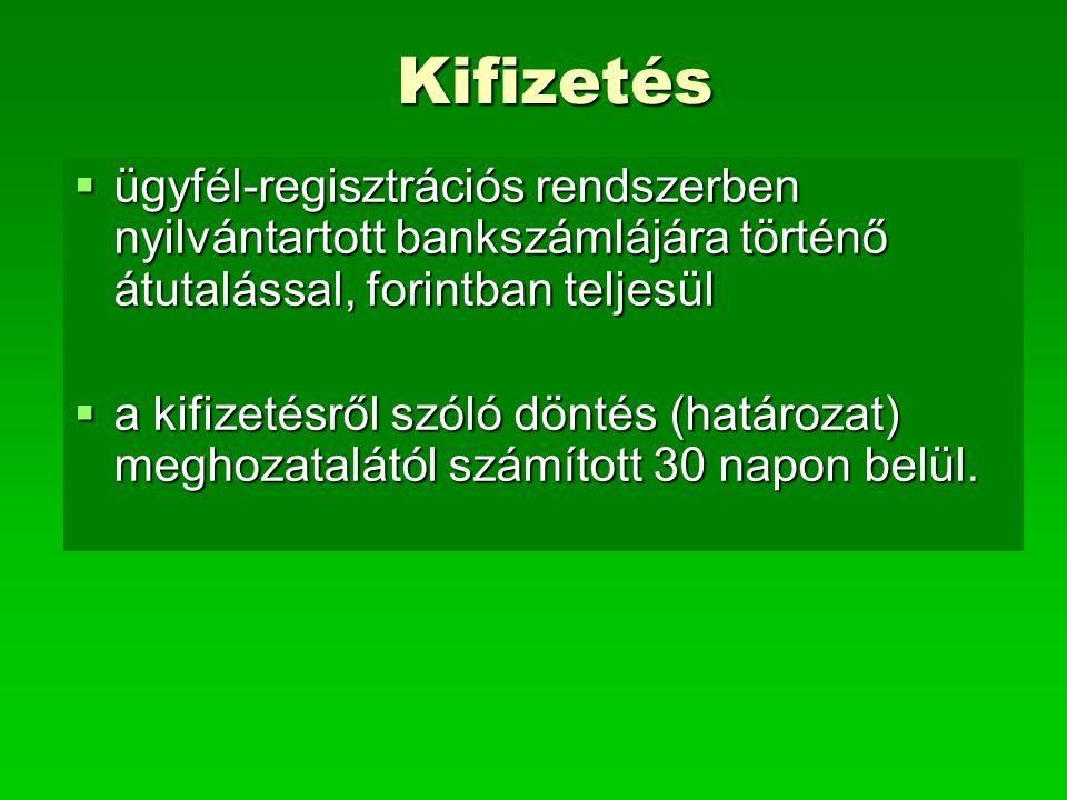 Kifizetés  ügyfél-regisztrációs rendszerben nyilvántartott bankszámlájára történő átutalással, forintban teljesül  a kifizetésről szóló döntés (hatá