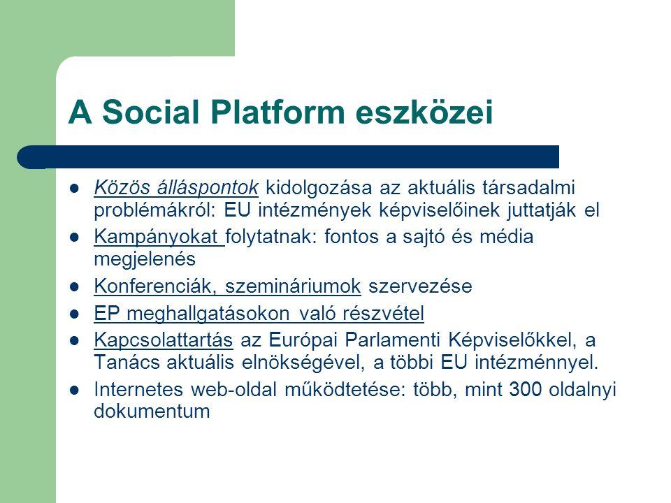 A Social Platform eszközei Közös álláspontok kidolgozása az aktuális társadalmi problémákról: EU intézmények képviselőinek juttatják el Kampányokat fo