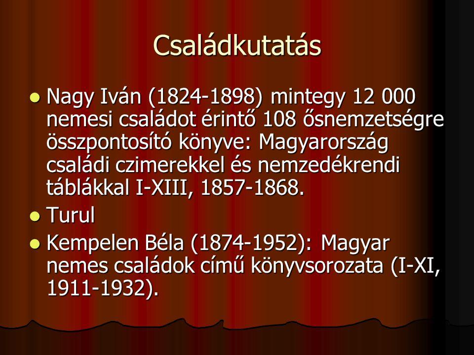 Családkutatás Nagy Iván (1824-1898) mintegy 12 000 nemesi családot érintő 108 ősnemzetségre összpontosító könyve: Magyarország családi czimerekkel és nemzedékrendi táblákkal I-XIII, 1857-1868.