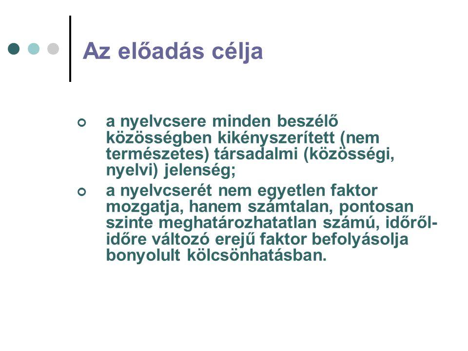 Az előadás célja a nyelvcsere minden beszélő közösségben kikényszerített (nem természetes) társadalmi (közösségi, nyelvi) jelenség; a nyelvcserét nem