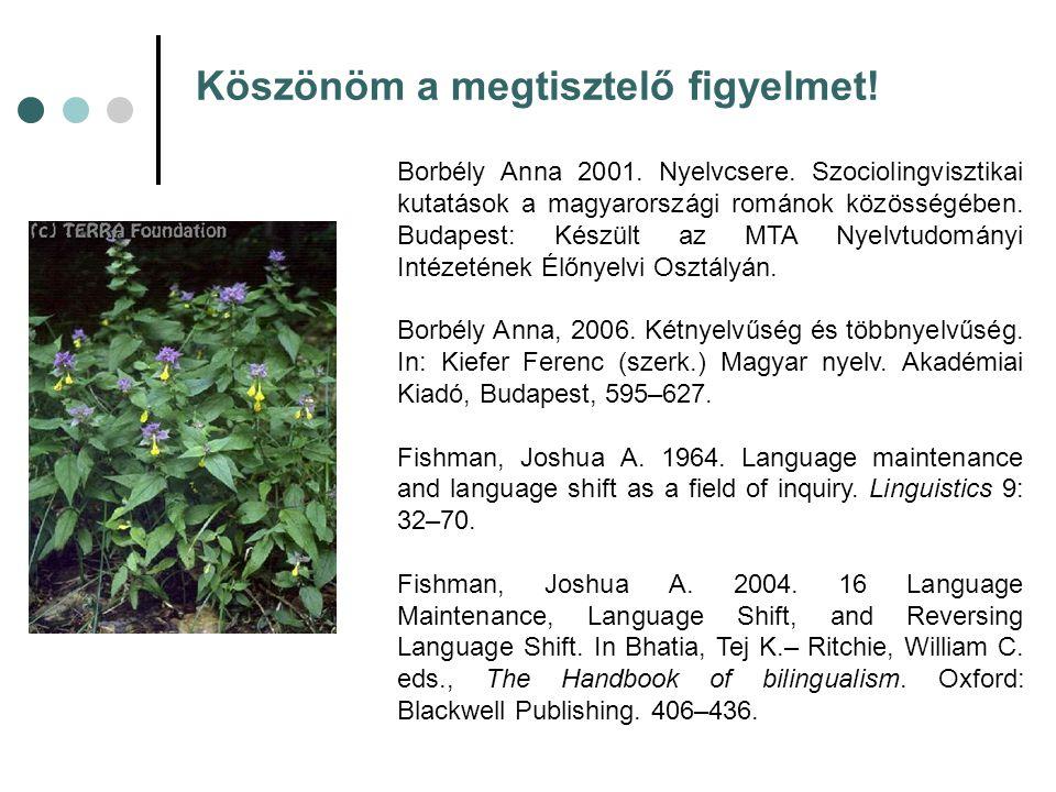 Köszönöm a megtisztelő figyelmet! Borbély Anna 2001. Nyelvcsere. Szociolingvisztikai kutatások a magyarországi románok közösségében. Budapest: Készült