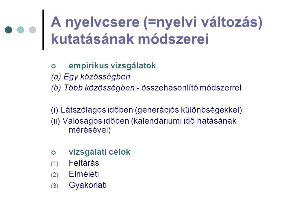 A nyelvcsere (=nyelvi változás) kutatásának módszerei empirikus vizsgálatok (a) Egy közösségben (b) Több közösségben - összehasonlító módszerrel (i) L