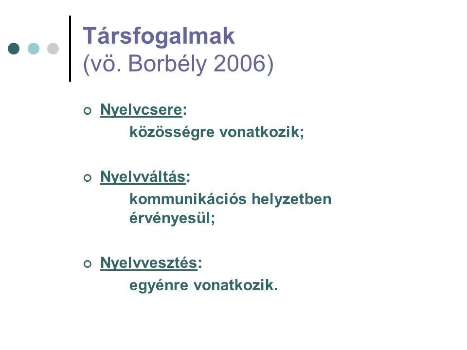 Társfogalmak (vö. Borbély 2006) Nyelvcsere: közösségre vonatkozik; Nyelvváltás: kommunikációs helyzetben érvényesül; Nyelvvesztés: egyénre vonatkozik.