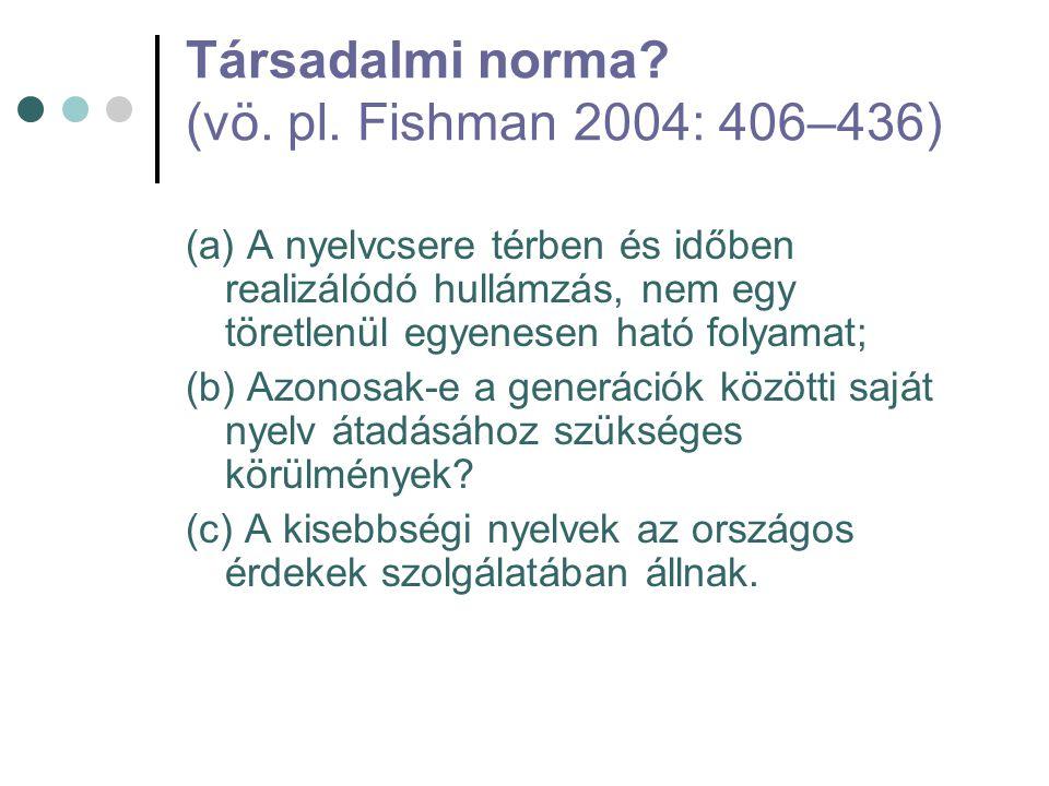 Társadalmi norma? (vö. pl. Fishman 2004: 406–436) (a) A nyelvcsere térben és időben realizálódó hullámzás, nem egy töretlenül egyenesen ható folyamat;