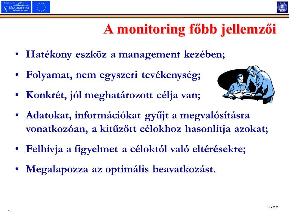 10 2014.08.07. A monitoring főbb jellemzői Hatékony eszköz a management kezében; Folyamat, nem egyszeri tevékenység; Konkrét, jól meghatározott célja