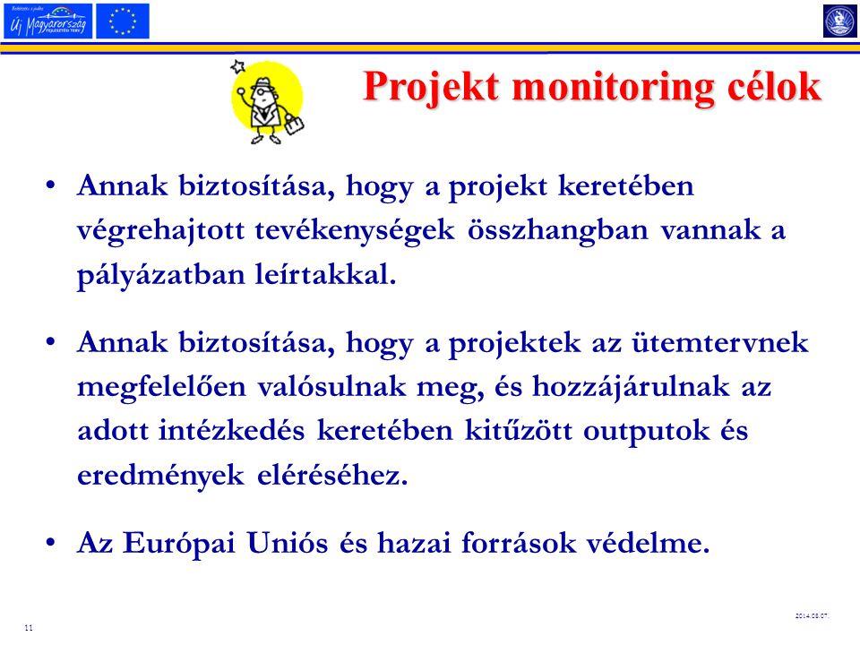 11 2014.08.07. Projekt monitoring célok Annak biztosítása, hogy a projekt keretében végrehajtott tevékenységek összhangban vannak a pályázatban leírta