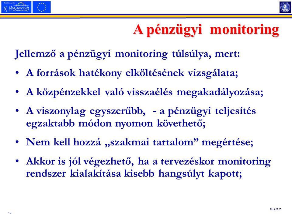 12 2014.08.07. A pénzügyi monitoring Jellemző a pénzügyi monitoring túlsúlya, mert: A források hatékony elköltésének vizsgálata; A közpénzekkel való v