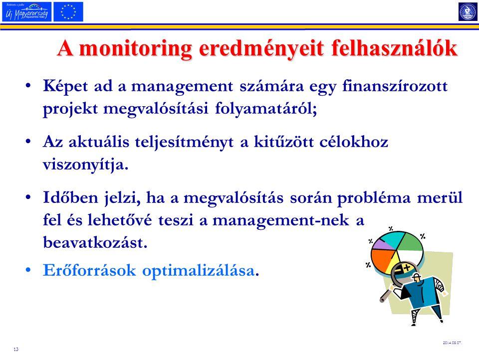 13 2014.08.07. A monitoring eredményeit felhasználók Képet ad a management számára egy finanszírozott projekt megvalósítási folyamatáról; Az aktuális