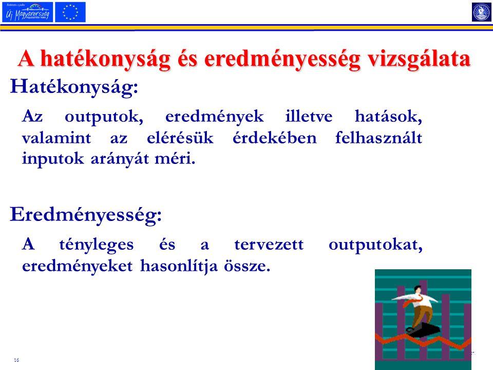 16 2014.08.07. A hatékonyság és eredményesség vizsgálata Hatékonyság: Az outputok, eredmények illetve hatások, valamint az elérésük érdekében felhaszn