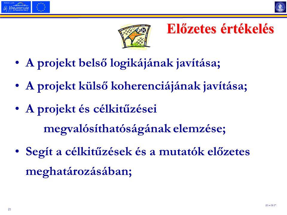 21 2014.08.07. Előzetes értékelés A projekt belső logikájának javítása; A projekt külső koherenciájának javítása; A projekt és célkitűzései megvalósít