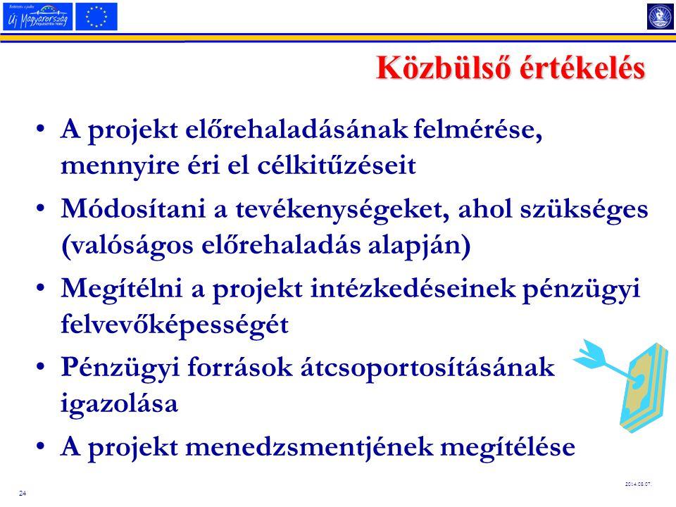 24 2014.08.07. Közbülső értékelés A projekt előrehaladásának felmérése, mennyire éri el célkitűzéseit Módosítani a tevékenységeket, ahol szükséges (va